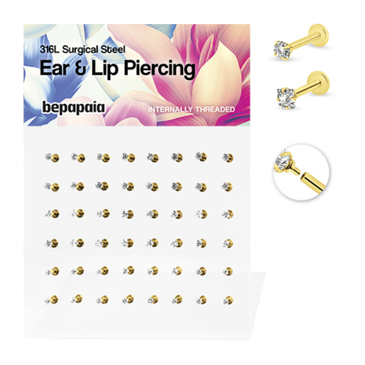 Gold steel labret with lock set stone