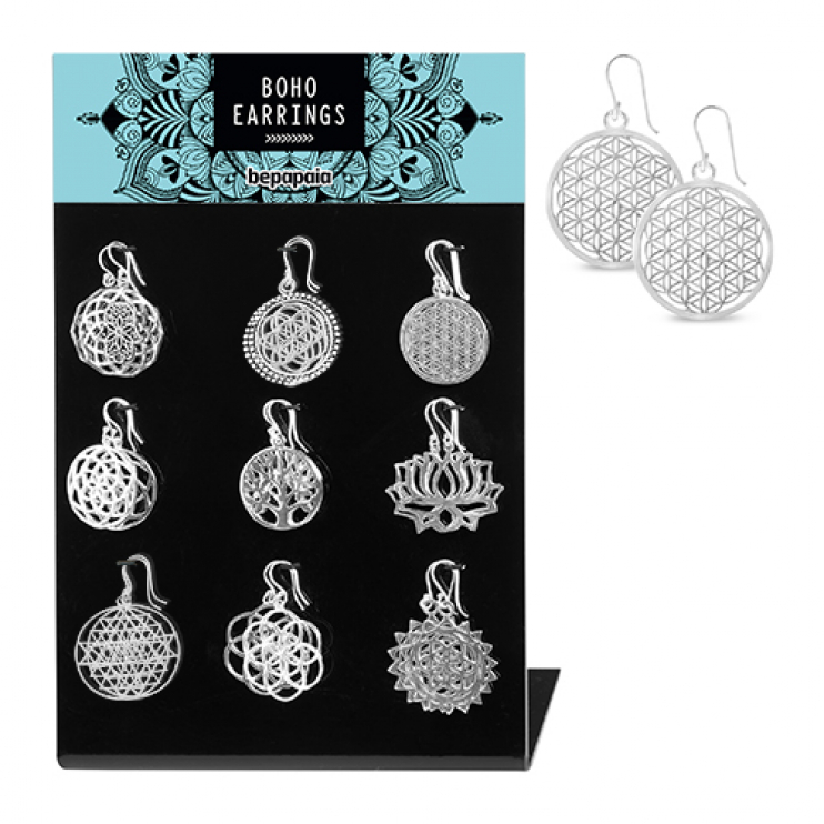 Silver brass earrings assorted ethnic symbols