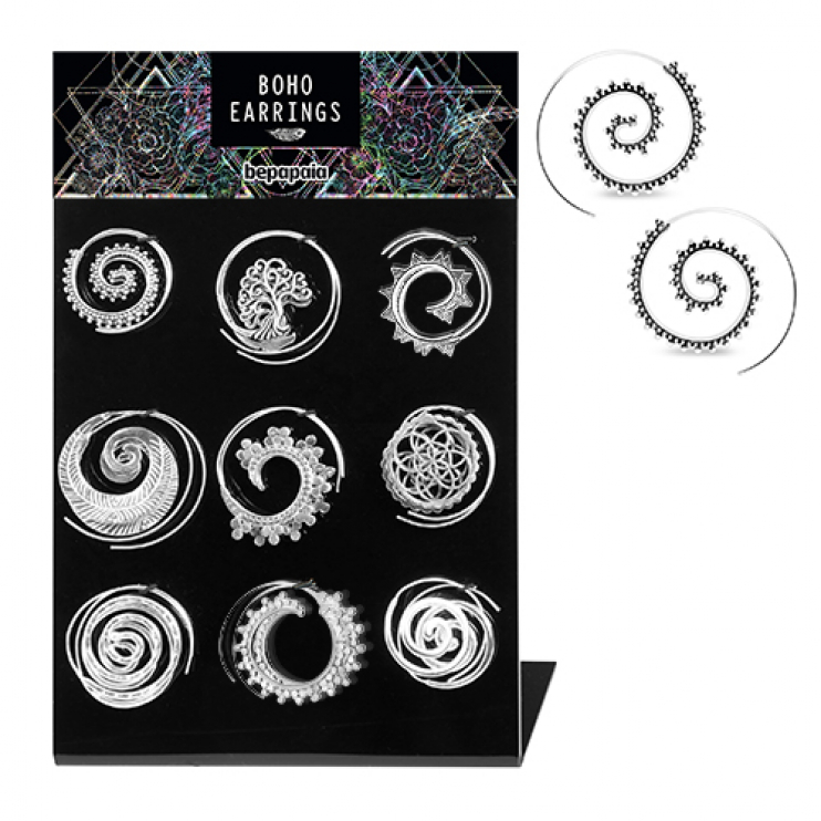 Boho silver brass spiral earrings assorted designs