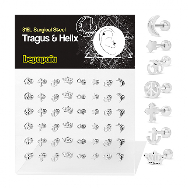 Surgical steel tragus piercing assorted designs