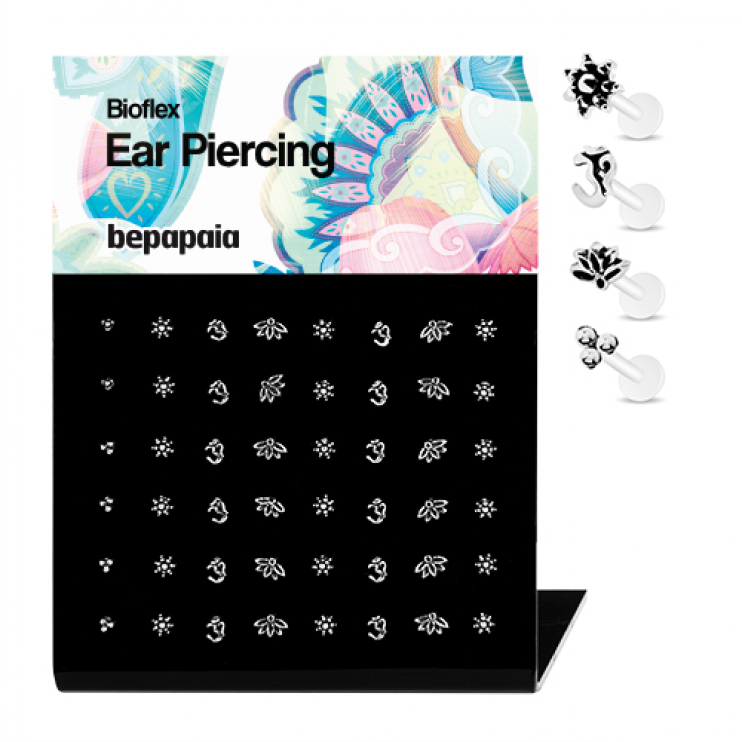 Bioflex tragus with silver ethnic designs