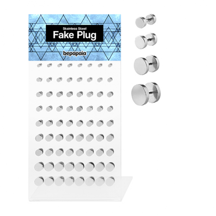 Stainless steel plain fake plugs 5-10mm