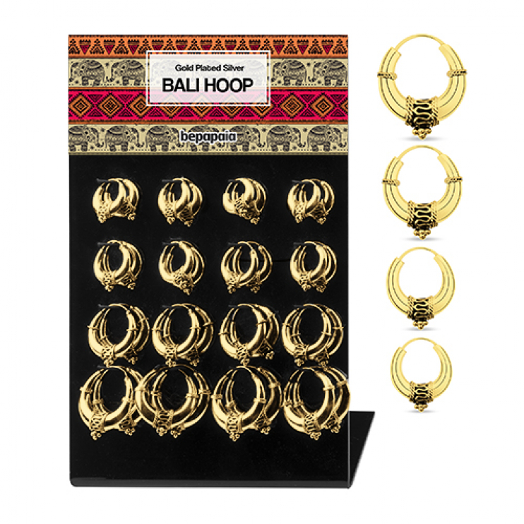 Creole gold plated silver hoop Bali style earrings 18-30mm
