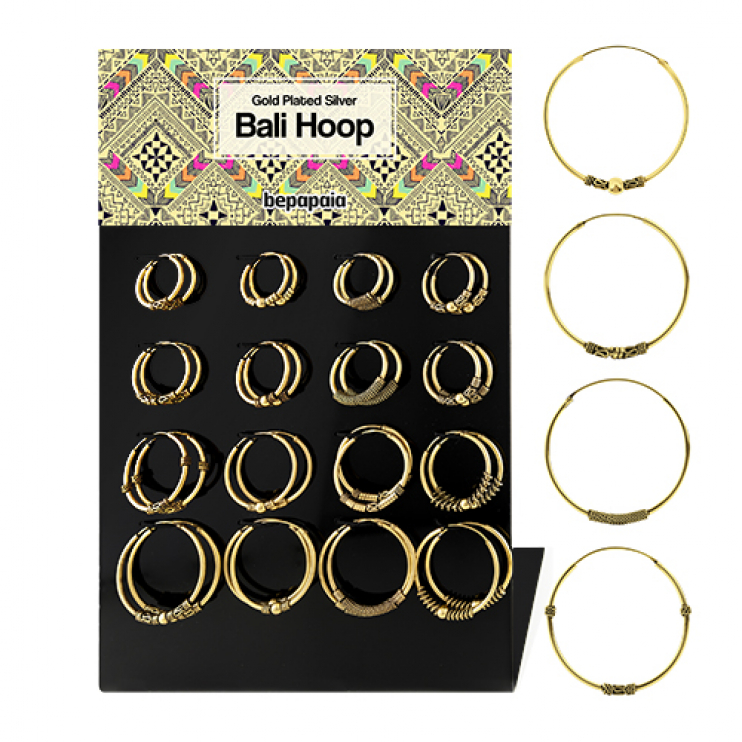 Gold plated silver Bali hoop assorted designs. 18mm-30mm