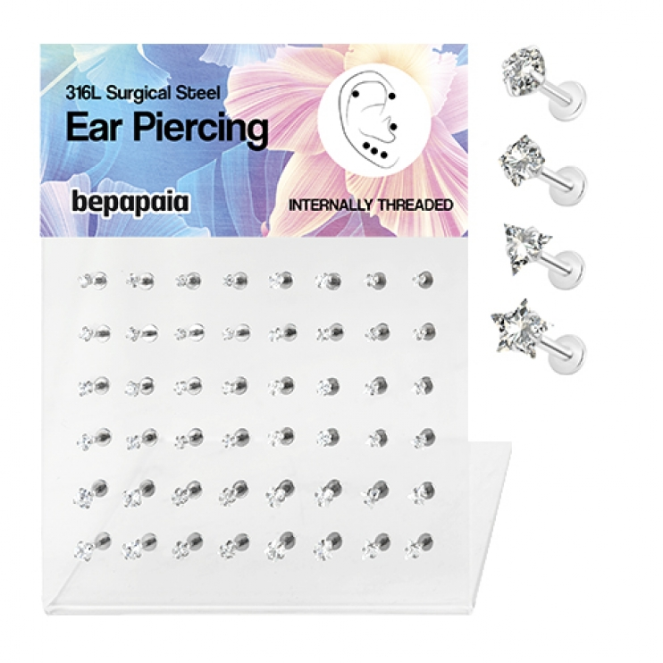 Steel tragus piercing with white cubic zirconia different shapes