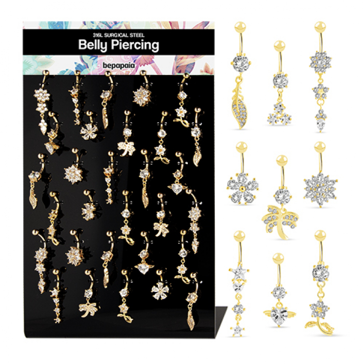 Surgical steel belly ring gold plated fancy style with various cubic zirconias