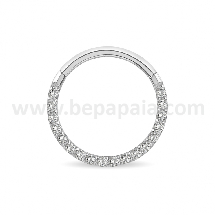 316L surgical steel hinged segment ring with frontal gems