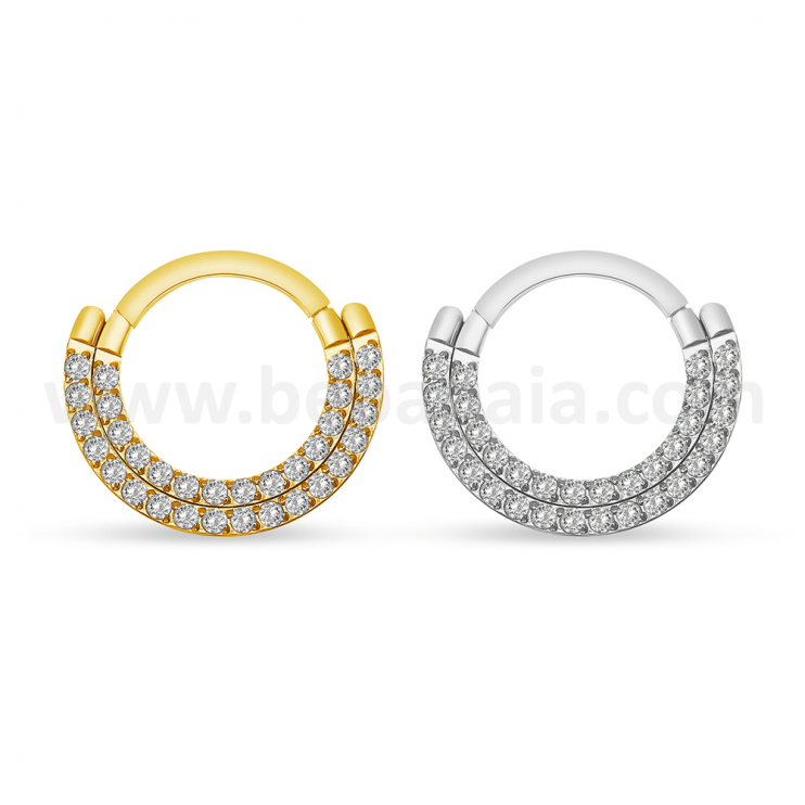 Surgical steel hinged segment ring double line gems frontal