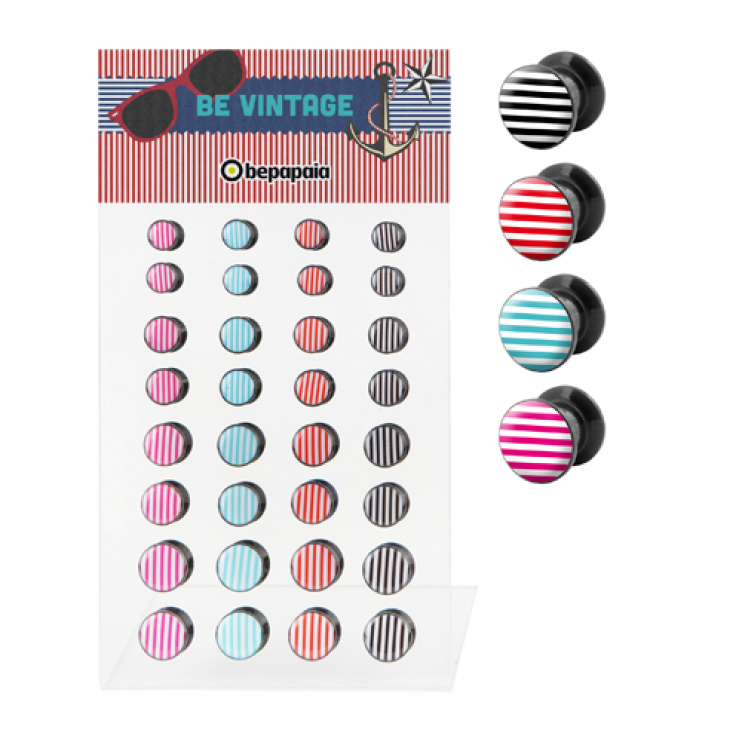 Acrylic ear plug with stripes