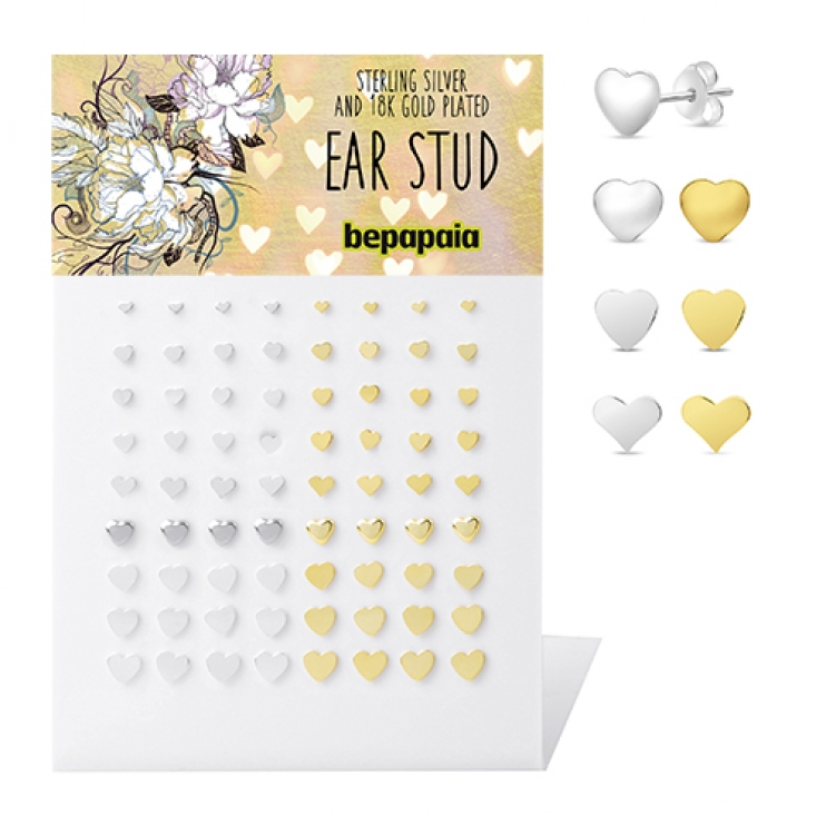 Silver and gold plated stud with heart