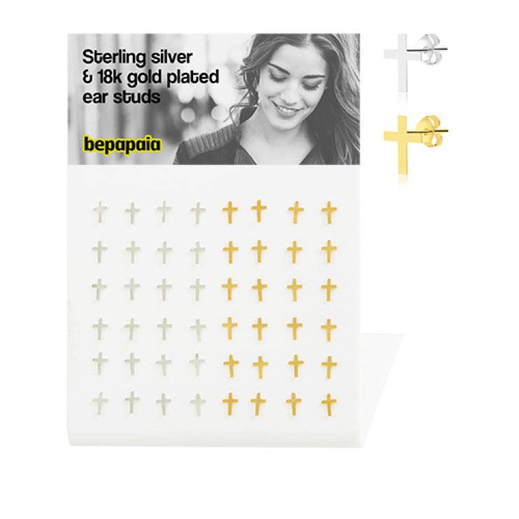Gold-plated sterling silver ear stud with cross