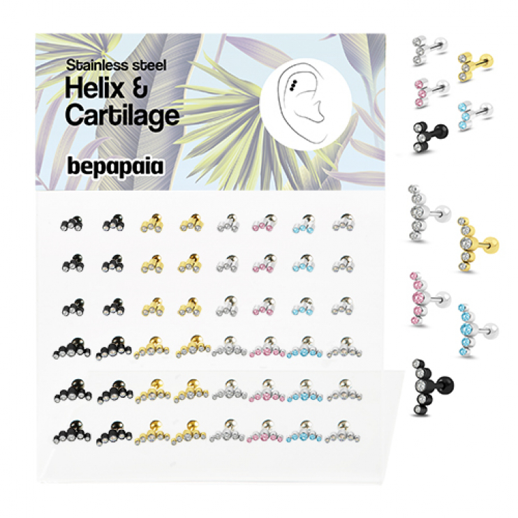 Stainless steel helix & cartilage stud with 3 or 5 jeweled stones