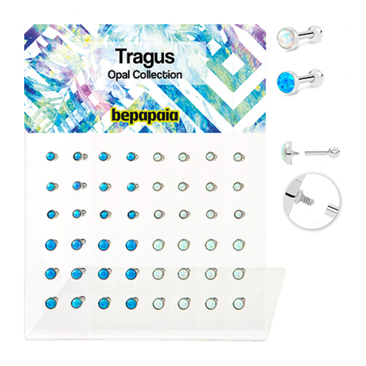 Surgical steel tragus piercing with opal