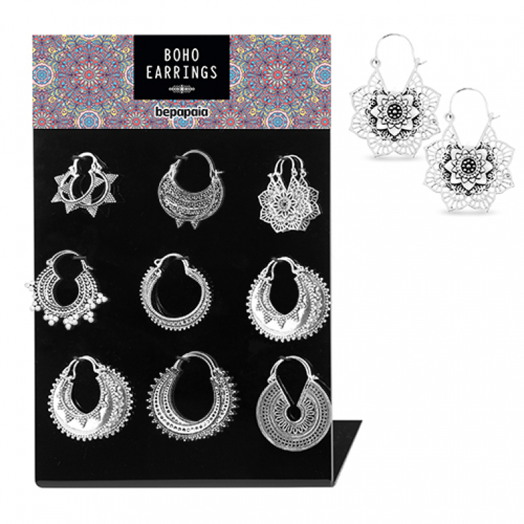 Silver brass earrings assorted ethnic designs
