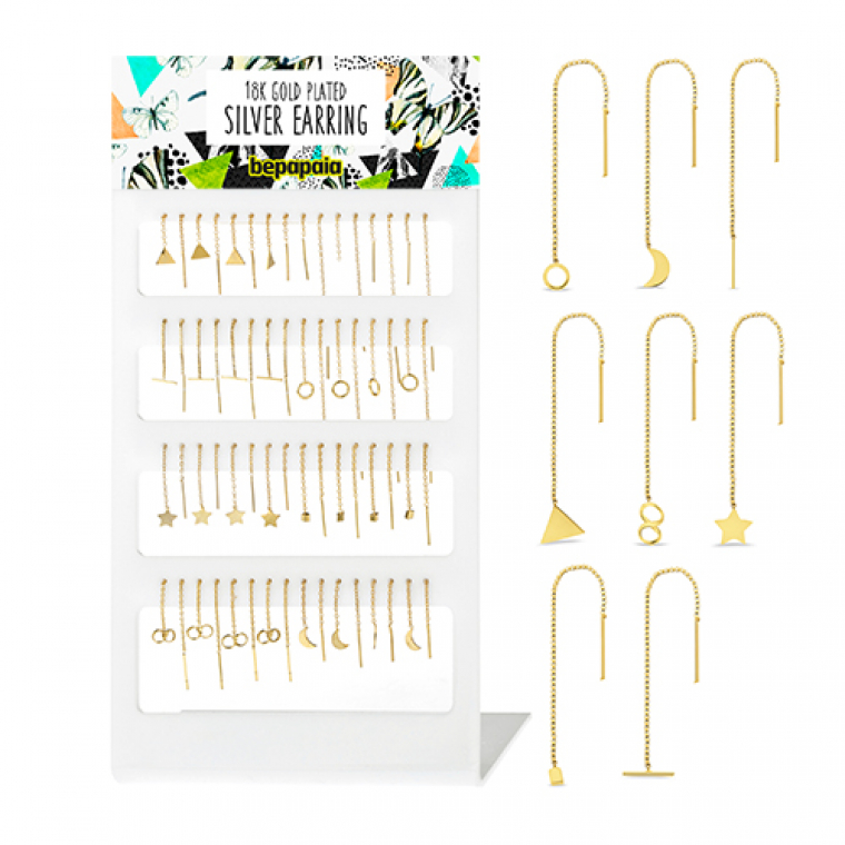 Gold plated silver earring with chain