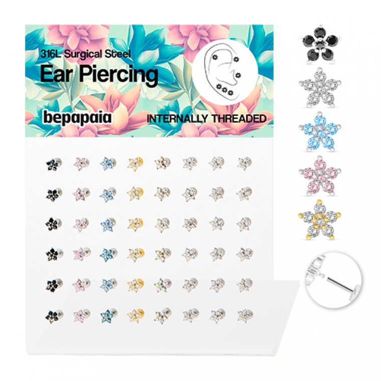 Surgical steel tragus flower cubic zirconia internal threaded