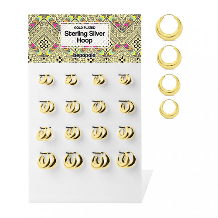Creole gold plated silver hoop earrings 12-18mm