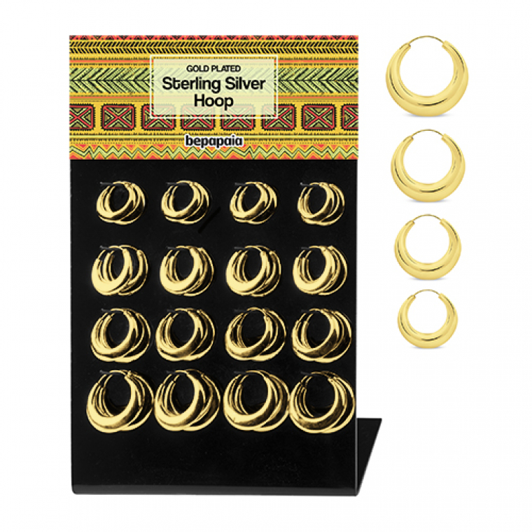 Creole gold plated silver hoop earrings 20-30mm