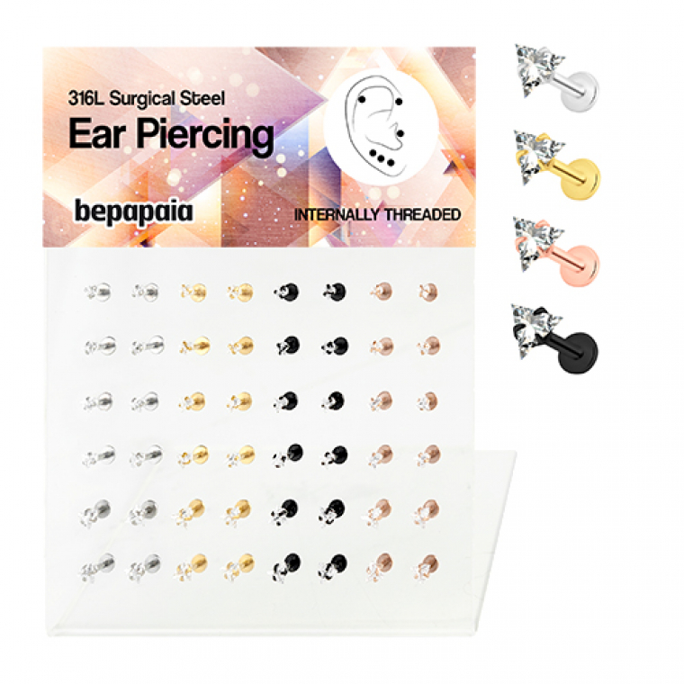 Steel tragus piercing with white triangle cubic zirconia