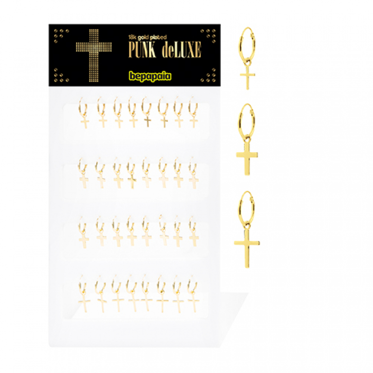 Gold-plated silver hoop earring with dangling cross