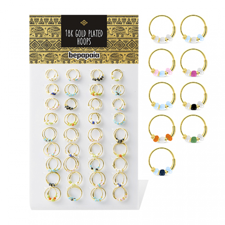 Gold plated hoop earring with beads