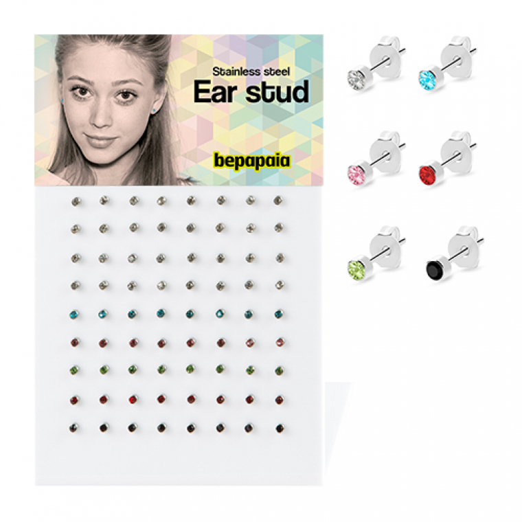 Surgical steel stud earring with stone 5/64¨