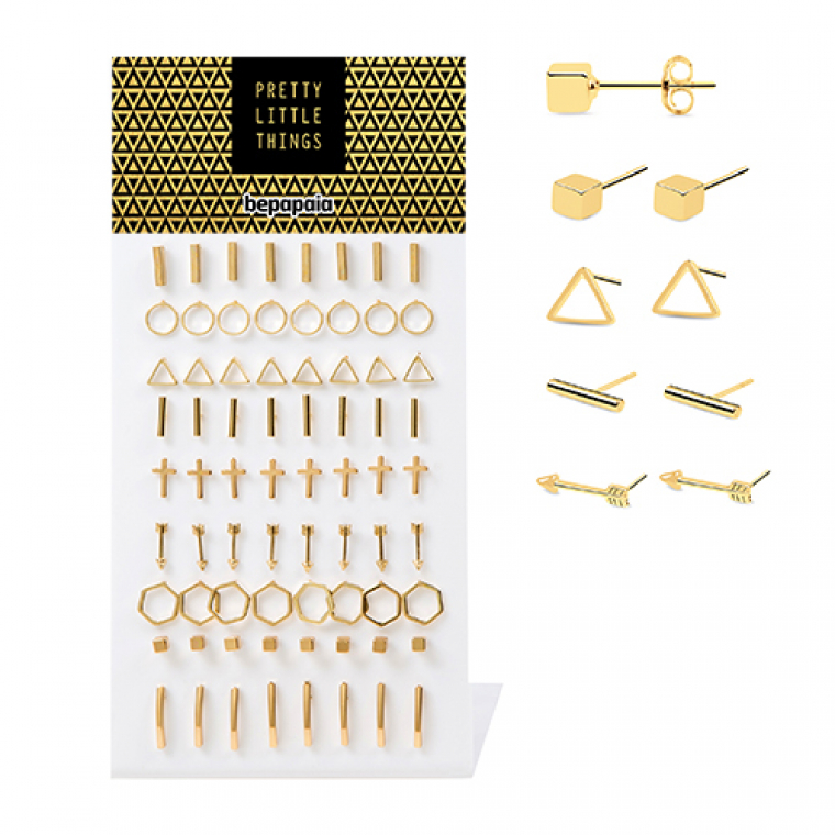 Ear studs with geometric shapes