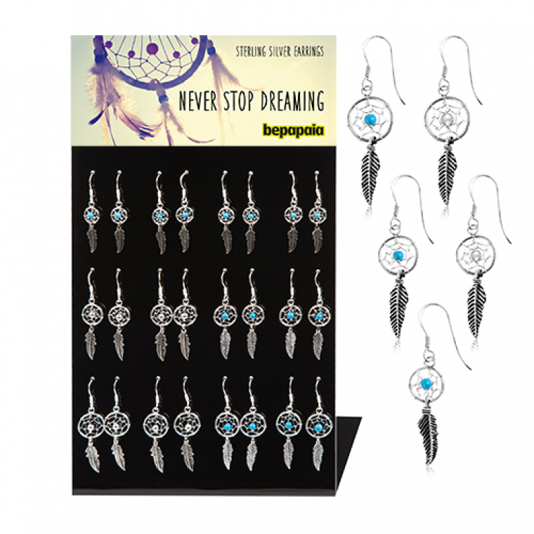 Dream catcher silver earring