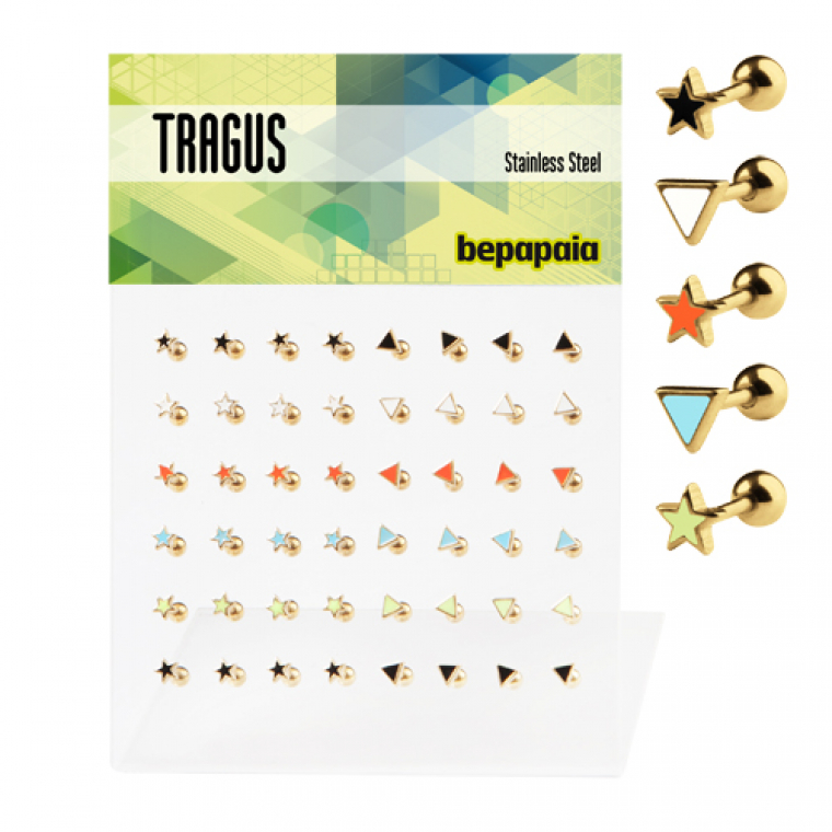 Gold stainless steel tragus with different enamel shapes and colours
